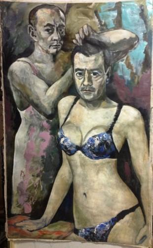 Алтунин - портрет Владимира Путина и Дмитрия Медведева в женском белье