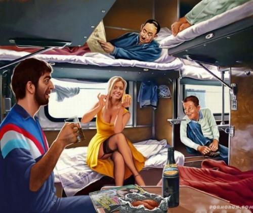 Секс_Женщина в поезде