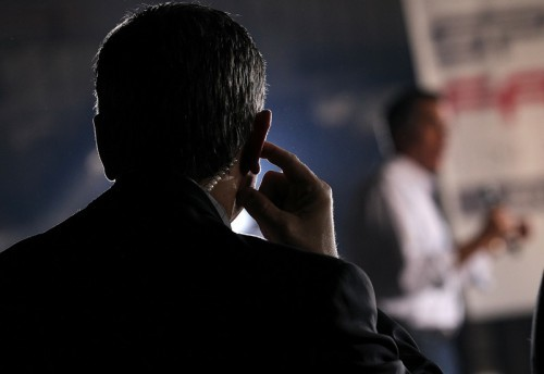 Republican Presidential Candiate Mitt Romney Campaigns On Day Of Nevada Caucus