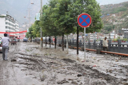 Flooding After Rainstorm Hits Hezuo