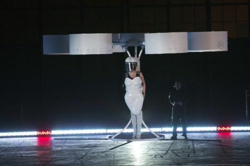 "Lady Gaga flies with the Volantis, a flying dress, at the ""artRave"" release event of her new album ""ARTPOP"" in New York"