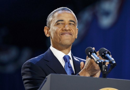 U.S. President Barack Obama smiles during his election night victory speech in Chicago