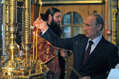Vladimir Putin at church
