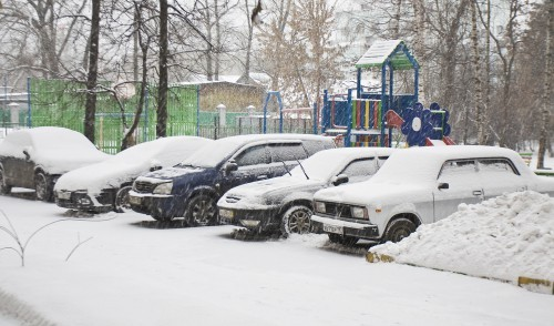 Moscow, Russia - December 04, 2012: heavy snowfalls in Moscow.