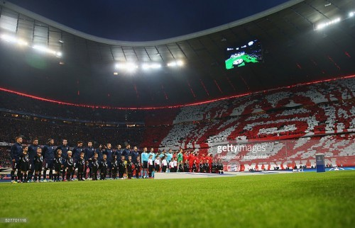 during UEFA Champions League semi final second leg match between FC Bayern Muenchen and Club Atletico de Madrid at Allianz Arena on May 3, 2016 in Munich, Germany.