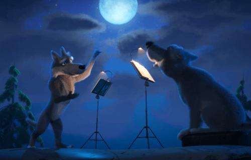 Волки при луне